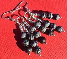 Snowflake Obsidian Gemstone Bead Dangle Handmade Earrings NEW - Aussie Seller!!!