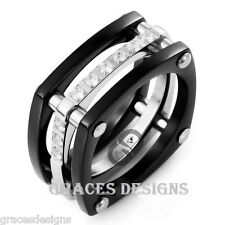 Men's Solid Titanium Wedding Engagement Bridal Band Black IP CZ Ring Sizes 6-14