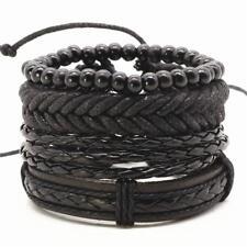 4PCS BRACELET SET Black Wood Bead Leather Vinyl Braided Adjustable Men Women