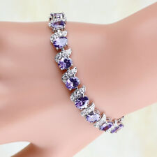 """Xmas Gift 6mmx8mm Oval Purple Amethyst Zirconia CZ White Gold Plated Chain 7.25"""""""