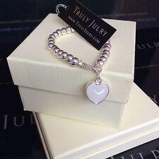 Ladies Luxurious Designer Silver Heart Stretch Bracelet Jewellery  Gift UK