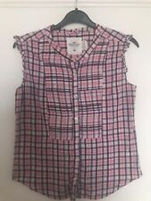 GIRLS H&M (L.O.G.G.) CHECKED, SLEEVELESS BLOUSE / TOP AGE 12 - 13 YEARS