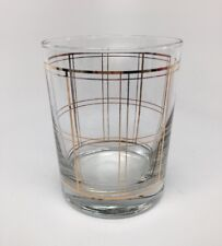 Vtg George Briard Double Old Fashioned Rocks Glass Gold Plaid / Lines - Mcm