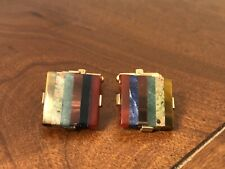 "Interlocking Squares"" Cuff Links Natural Semi Precious Inlayed Stones"