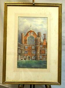 Arthur Poley (1886-1968) original old watercolour painting Hampton Court England