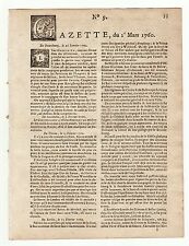 1760, March 1st, Original French Gazette # 9