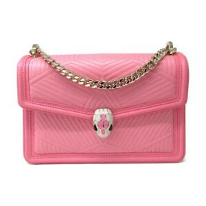 Authentic BVLGARI Serpenti chain shoulder bag leather Pink Used crossbody