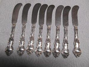 """8 Watson Meadow Rose Pattern Sterling Silver 5 7/8"""" Flat Butter Knives NO MONO"""