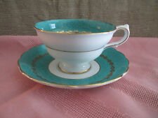 GROSVENOR WESTBROOK TEA CUP AND SAUCER TEAL SNOWFLAKE PATTERN