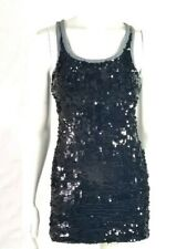 D&G Dolce and Gabbana XS XSmall Sequin Tank Dress Top Gray Black Sleeveless