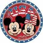 MICKEY & MINNIE MOUSE PATRIOTIC USA LARGE PAPER PLATES (10)~ 4th July Birthday