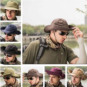 Mens Women Army Style Sun Hat Bucket Cargo Safari Bush Boonie Summer Fishing Hat