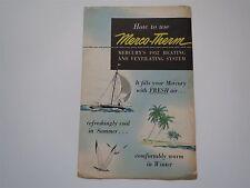 1952 MERCURY MERCO-THERM HEATING/AC SYSTEM DEALER SALES  BROCHURE ORIGINAL