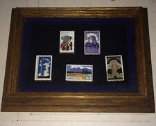 Cloisonne Enameled Gold Plated Wyoming State Stamp Set Framed Mint Rare Nice
