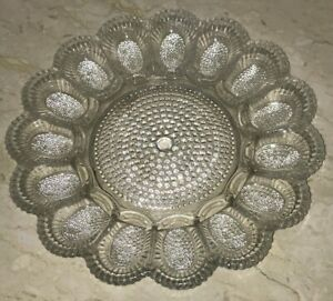 "Vintage Indiana Glass 11"" Bubble Hobnail Deviled Egg Dish Relish Tray Crystal"