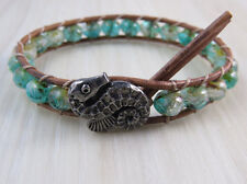 Boho Leather Beaded Bracelet with Seahorse Button Sea Green Picasso Czech Glass