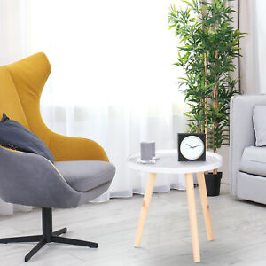 HOMCOM Bedside Round Table W/Solid Wood Legs End Side Coffee Table Bedroom - Φ40