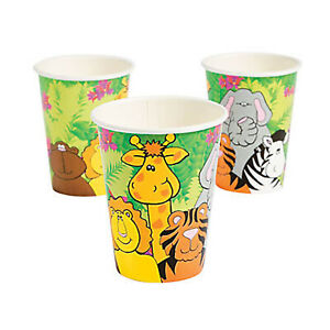 Zoo Animal Party Cups Jungle Safari Disposable Paper Drinking Cup Pack of 8