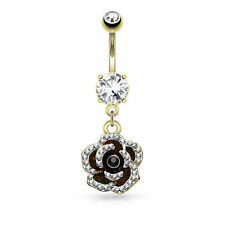 CZ Set Flower Dangle 14K Gold Plated Surgical Steel Navel Belly Button Ring 14g