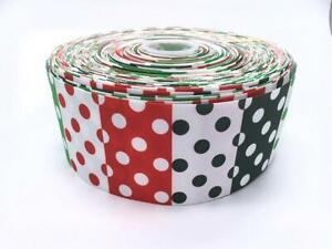 "Christmas Red Green Patt Spot 3"" 3 inch 75mm Grosgrain Ribbon Buy 4 get 5th Free"