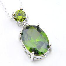 Best Jewelry Gift Oval Cut Emerald Topaz Gems Silver Necklace Pendants