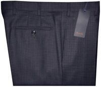 $395 NEW ZANELLA DONNIE NAVY GRID WEAVE SUPER 120'S WOOL SLIM DRESS PANTS 41 42