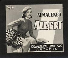 Postal publicitaria. 7,50x6,50 mm. Almacenes Albert. Archena (Murcia).