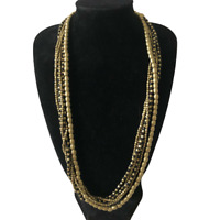Necklace Multistrand Beaded Gold Black Tones Solid Heavy Lobster Claw Runway