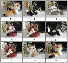 Faux Fur Cat Kitty Key Chain Whole Body Cat Setting Down Car Purse Phone Charm