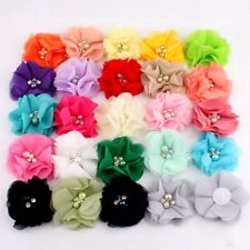 "120PCS 2"" 35 Colors Cute Chic Chiffon Flowers With Rhinestone Pearl"