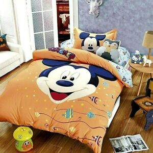 Disney's Mickey Orange 100% Cotton Twin Single Duvet Cover Set w/ Flat Sheet