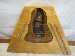 Hand Carved Lap Musical Instrument Old Man Figural Zither Ah-Weh Hut Crafts