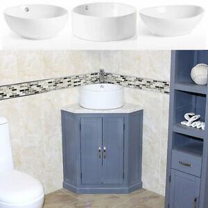 Grey Painted Bathroom Vanity Unit Corner Wash Stand Marble & Ceramic Basin