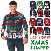Christmas Jumper Men's Light Up LED Xmas Reindeer Snowman Fairisle Sweater Top