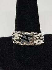 LIghtning Bolt Inlaid Biker Ring Size 11