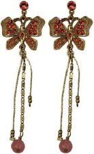 Pilgrim Denmark 16k Gold Plated Earrings Red Swarovski Crystals Butterflies
