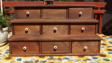 """Primitive Wooden Spice Box 23"""" long w/9 Drawers Handmade to look Antique Pre-Own"""