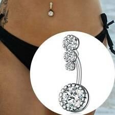 Button Ring Bar Body Piercing Silve&^Q Surgical Steel Navel Rings Crystal Belly