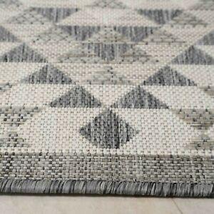 Grey Indoor Outdoor Rugs Summer Garden Patio Geometric Washable Plastic Big Mats