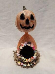 Ooak Hand Made Pumpkin Art Doll Folk Art Doll Gothic Creepy Decor Gothic