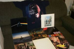 PINK FLOYD 8 LP LOT DARK SIDE OF THE MOON, WISH YOU WERE HERE THE WALL + T SHIRT
