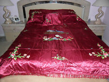 ART EXPORT BURGUNDY Satin Embroidered Bedspread cover Bedding Set 3 Twin Size