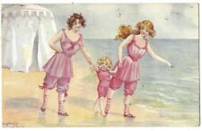 SEAFOAM Girls in Pink Bathing Costumes, Embossed Tuck Postcard #6492 Posted 1910