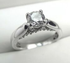 Certified 0.88 ctw Genuine DIAMOND Engagement 14KW Gold Ring size 6.5 VIDEO