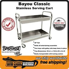 Stainless Steel Serving Bar Cart Movable with Locking Casters by Bayou Classic