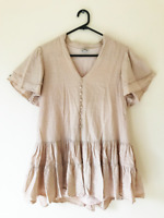 Pink Diamond Pink Short Sleeve Shift Dress Size S Relaxed Fit Buttons Casual