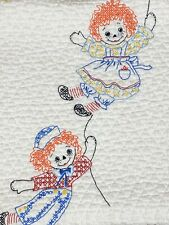 Vintage Raggedy Ann & Andy Crib Quilt Blanket Hand Embroidered