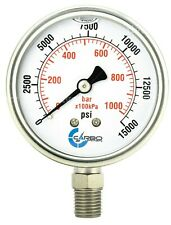 "2-1/2"" Pressure Gauge, Stainless Steel Case, Liquid Filled, Lower Mnt 15000 PSI"