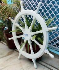 36''White Washed Ship Wood Ship's Wheels/Wood Ship Steering Nautical Handmade