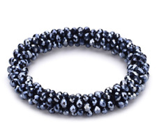 Beaded Bracelet Shiny Glass Beads Elastic Womens Girls Charm Crystals Jewellery